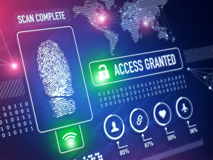 Security technology and ID verification concept and background